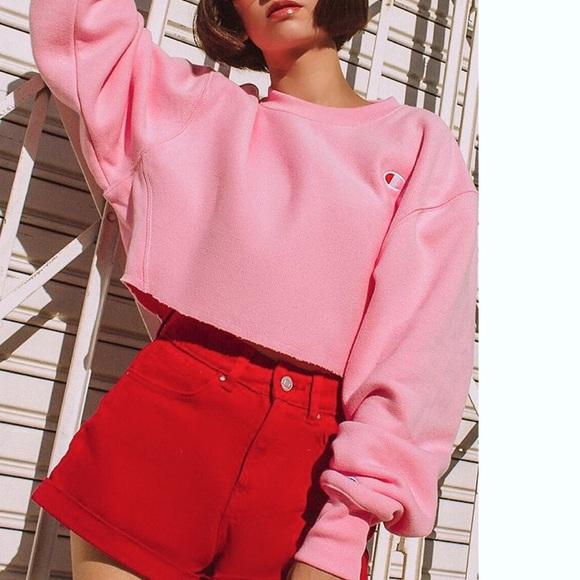 294b215e Champion Tops | Pink Cropped Reverse Weave Sweatshirt | Poshmark